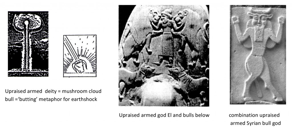 Upraised arm deity, bulls