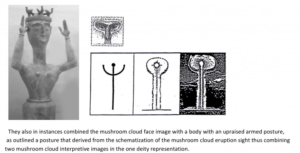 Mushroom cloud face, upraised arm posture