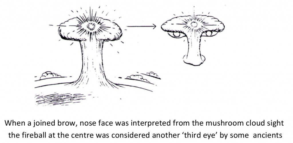 Joined brow, nose face, mushroom cloud, fireball = third eye