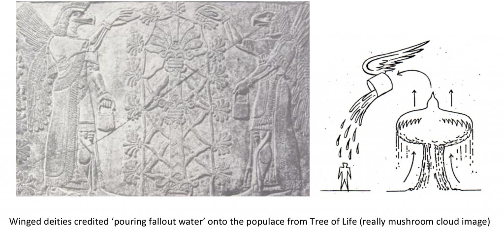 "Winged deities ""pouring fallout water"" onto the populace from Tree of Life"