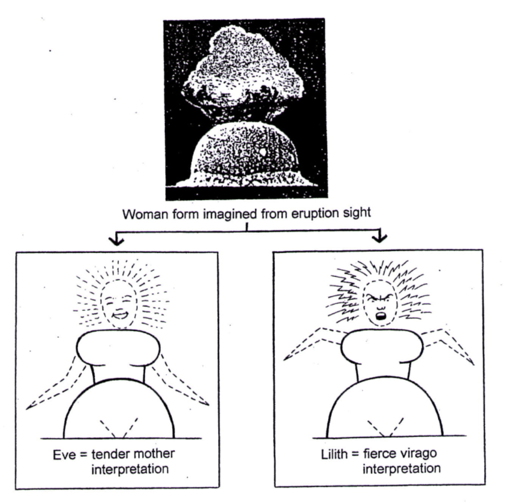 Woman form imagined from eruption sight